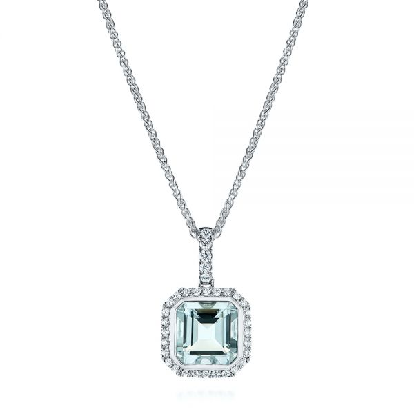 14k White Gold Aquamarine And Diamond Pendant - Three-Quarter View -  105443