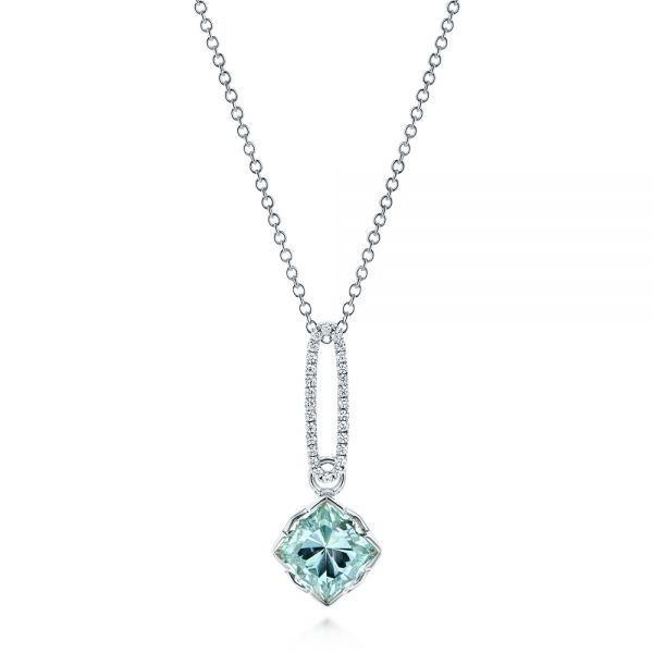 Aquamarine and Diamond Pendant - Image