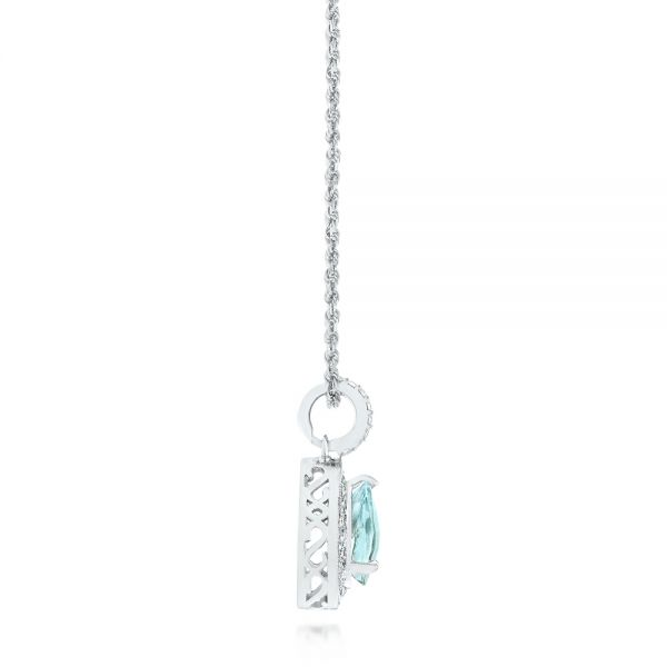 14k White Gold Aquamarine And Diamond Pendant - Side View -