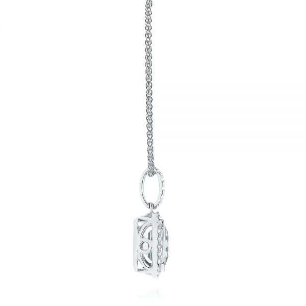 14k White Gold Aquamarine And Diamond Pendant - Side View -  105443