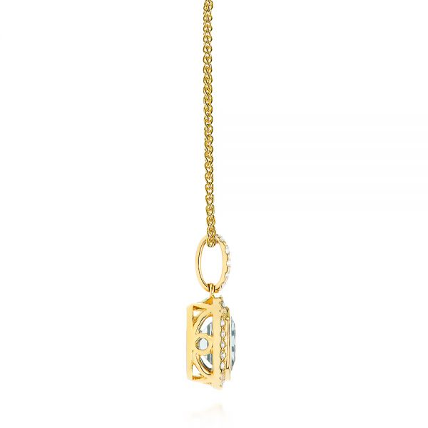 14k Yellow Gold 14k Yellow Gold Aquamarine And Diamond Pendant - Side View -