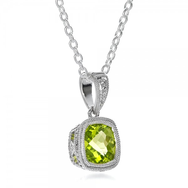 Antique Cushion Peridot Pendant - Flat View -  100495 - Thumbnail