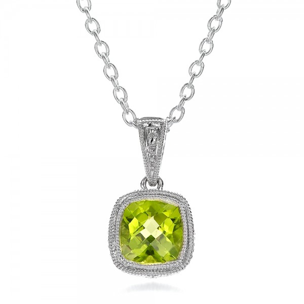 Antique Cushion Peridot Pendant - Three-Quarter View -  100495 - Thumbnail