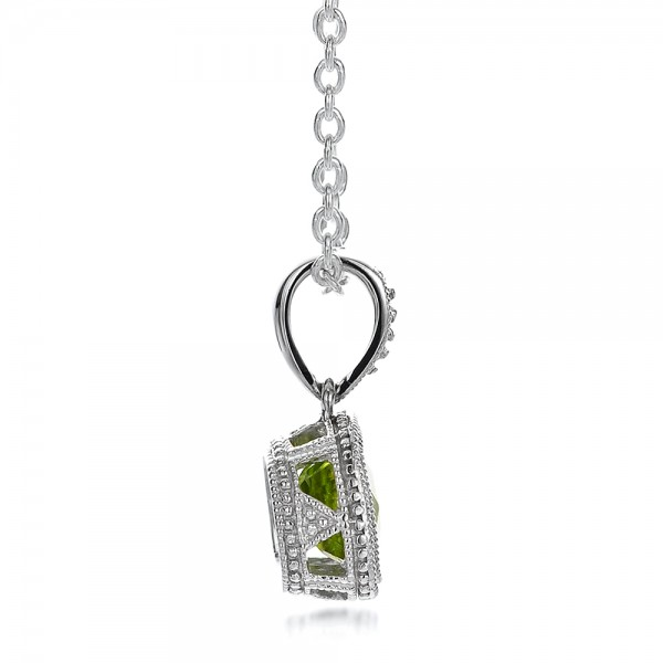Antique Cushion Peridot Pendant - Side View -  100495 - Thumbnail