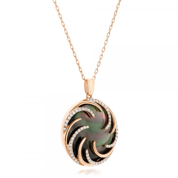 Black Mother of Pearl and Diamond Luna Fire Pendant - Laying View