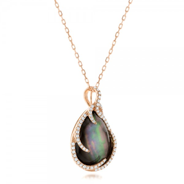 Black Mother of Pearl and Diamond Luna Fire Pendant