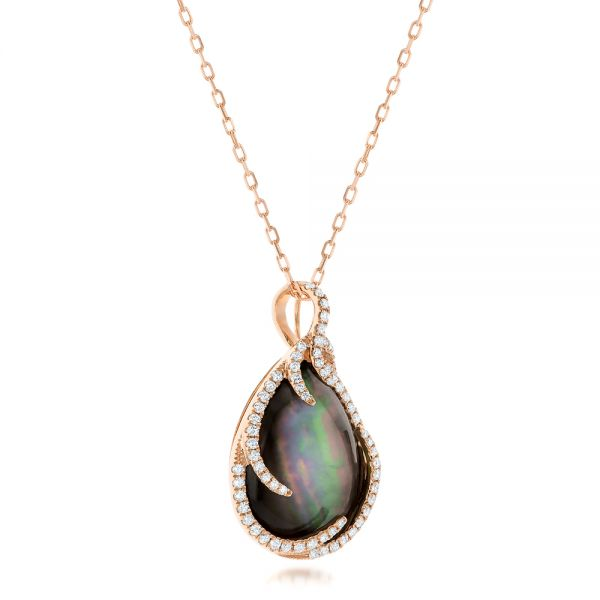 Black Mother of Pearl and Diamond Luna Fire Pendant - Flat View -  102499 - Thumbnail