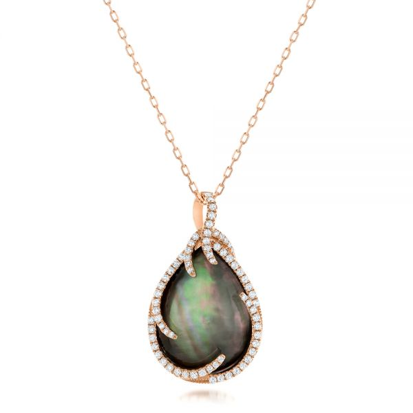 Black Mother of Pearl and Diamond Luna Fire Pendant - Image