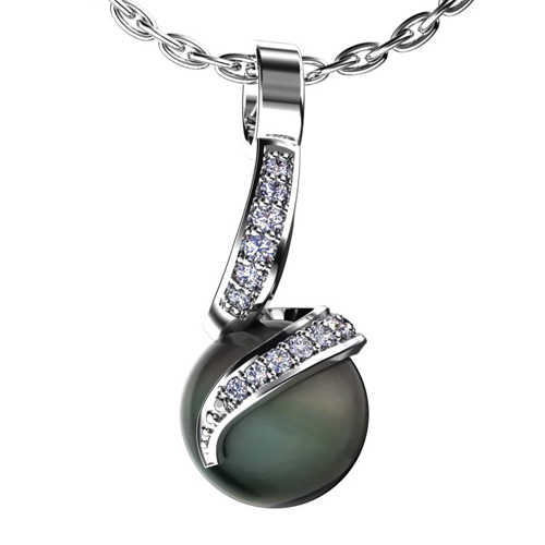 Black Pearl and Diamond Pendant - Image