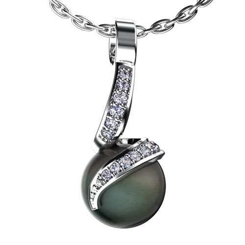 Black Pearl and Diamond Pendant - Flat View -  966 - Thumbnail