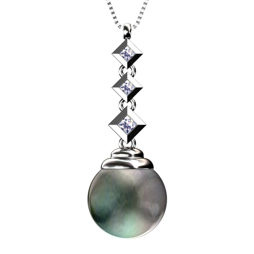 Black Pearl and Princess Cut Diamond Pendant - Image