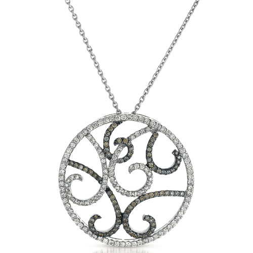 Black and White Diamond Filigree Pendant - Vanna K