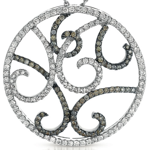 Black and White Diamond Filigree Pendant - Vanna K - Laying View