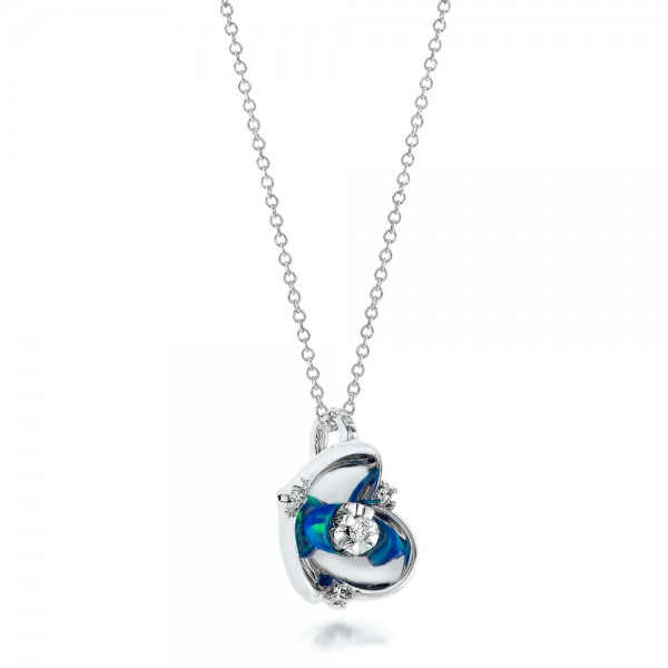 Blue Opal and Diamond Flower Pendant - Laying View