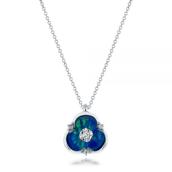 Blue Opal and Diamond Flower Pendant - Image