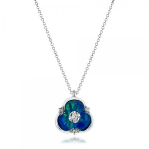 Blue Opal and Diamond Flower Pendant