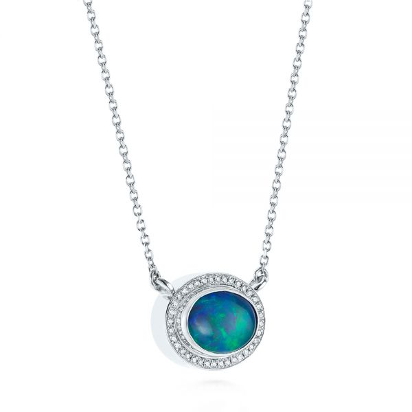 14k White Gold Blue Oval Opal And Diamond Pendant - Flat View -  104992 - Thumbnail
