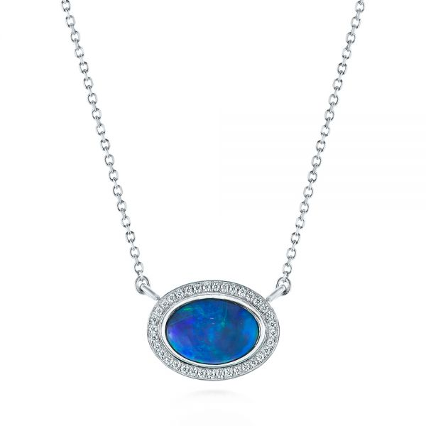 14k White Gold Blue Oval Opal And Diamond Pendant - Three-Quarter View -