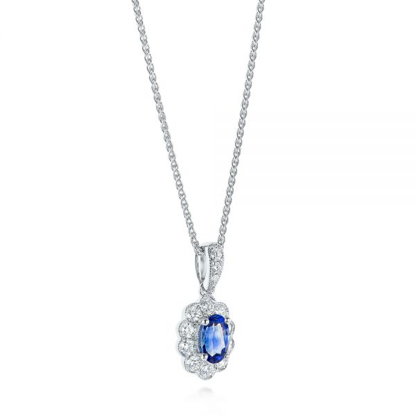 Blue Sapphire and Diamond Floral Pendant - Front View -  103743 - Thumbnail