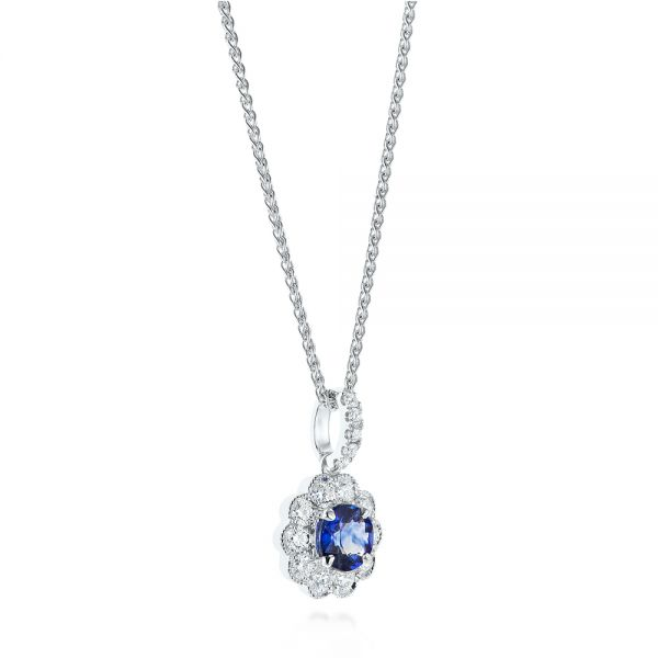 Blue Sapphire and Diamond Floral Pendant - Front View -  103744 - Thumbnail