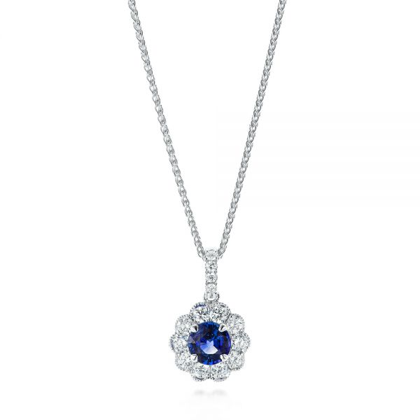 Blue Sapphire and Diamond Floral Pendant