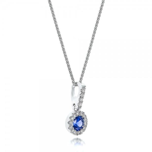 Blue Sapphire and Diamond Halo Pendant - Laying View