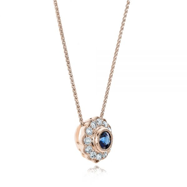 18k Rose Gold 18k Rose Gold Blue Sapphire And Diamond Halo Pendant - Flat View -  100979