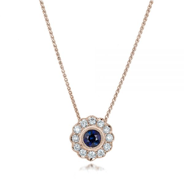 18k Rose Gold 18k Rose Gold Blue Sapphire And Diamond Halo Pendant - Three-Quarter View -  100979