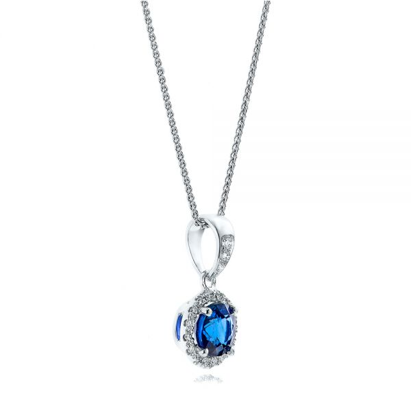 14k White Gold Blue Sapphire And Diamond Halo Pendant - Flat View -  100977