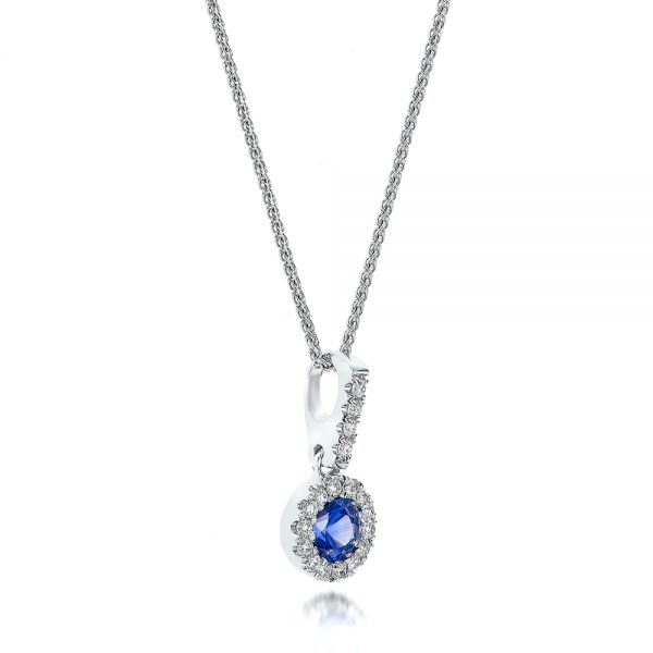 Blue Sapphire And Diamond Halo Pendant - Flat View -