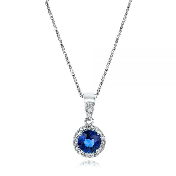 14k White Gold Blue Sapphire And Diamond Halo Pendant - Three-Quarter View -  100977