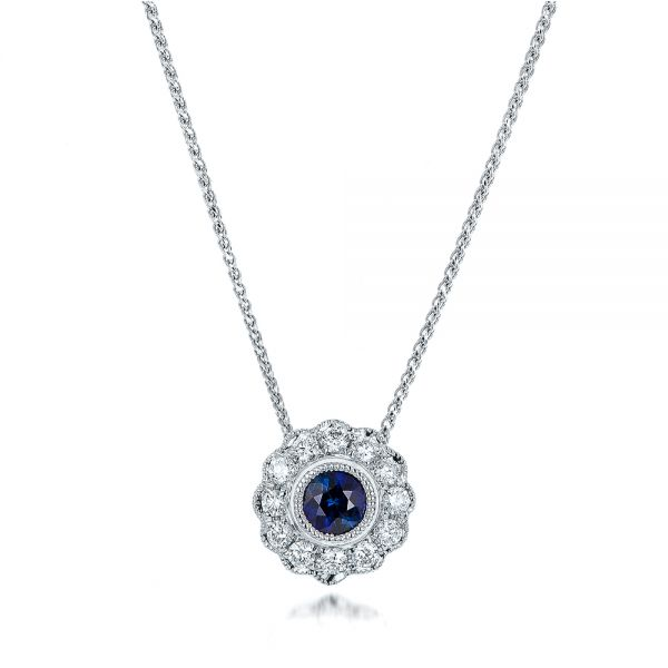 Blue Sapphire and Diamond Halo Pendant - Image