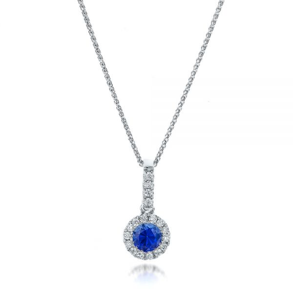 Blue Sapphire And Diamond Halo Pendant - Three-Quarter View -