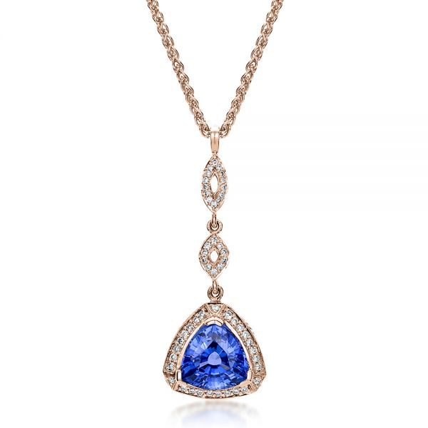18k Rose Gold 18k Rose Gold Blue Sapphire And Diamond Pendant - Three-Quarter View -