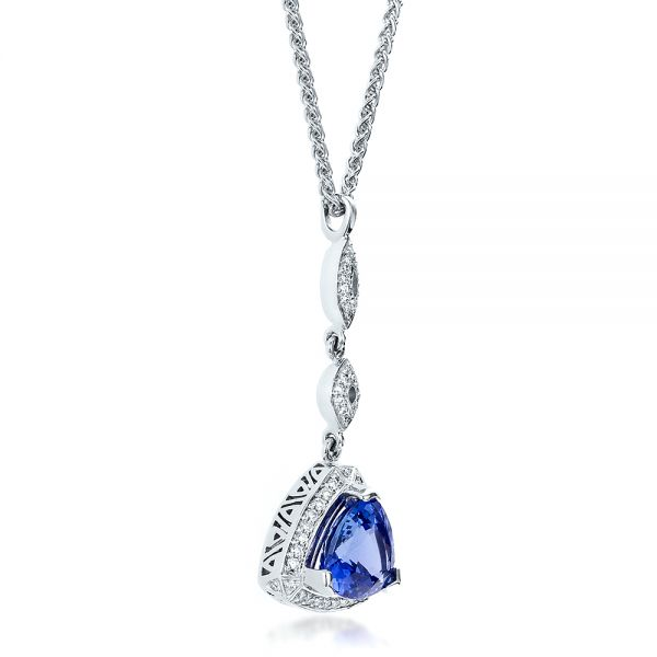 14k White Gold Blue Sapphire And Diamond Pendant - Flat View -  100079