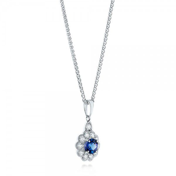 Blue Sapphire And Diamond Pendant - Flat View -