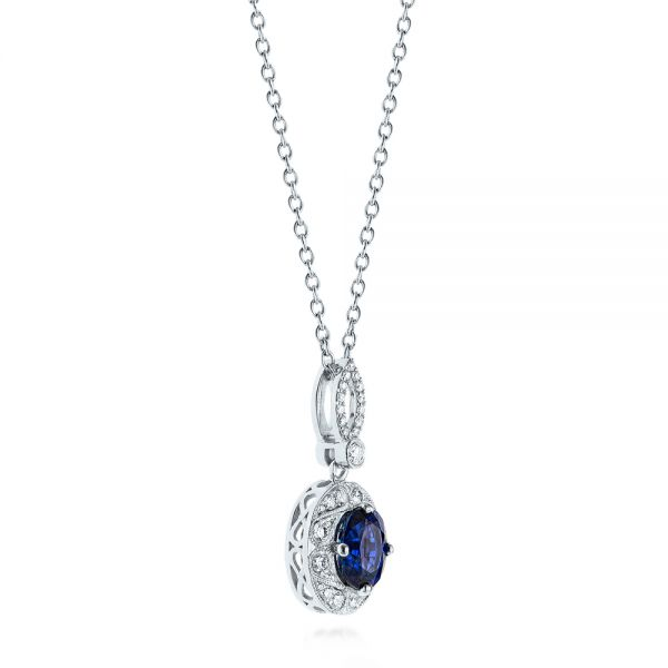 14k White Gold Blue Sapphire And Diamond Pendant - Flat View -  103660