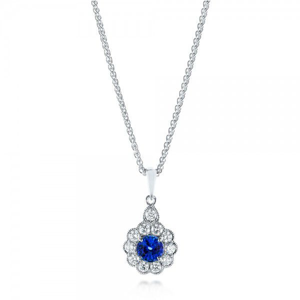 Blue Sapphire And Diamond Pendant - Three-Quarter View -