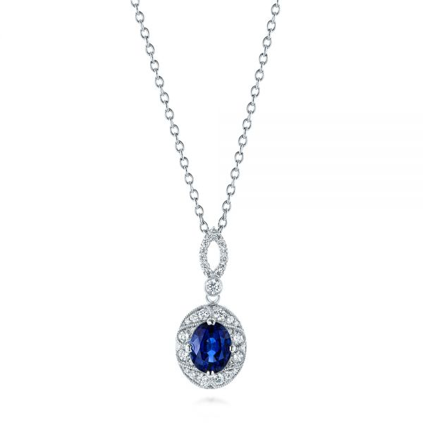 Blue Sapphire and Diamond Pendant - Image