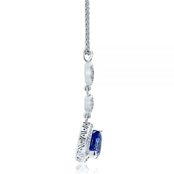 14k White Gold Blue Sapphire And Diamond Pendant - Side View -  100079