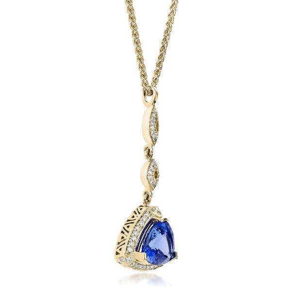14K Yellow Gold Blue Sapphire and Diamond Pendant - Flat View -  100079 - Thumbnail
