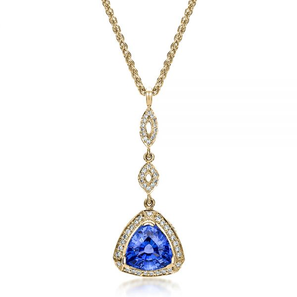 14K Yellow Gold Blue Sapphire and Diamond Pendant - Three-Quarter View -  100079 - Thumbnail