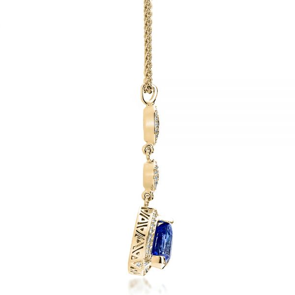 14K Yellow Gold Blue Sapphire and Diamond Pendant - Side View -  100079 - Thumbnail