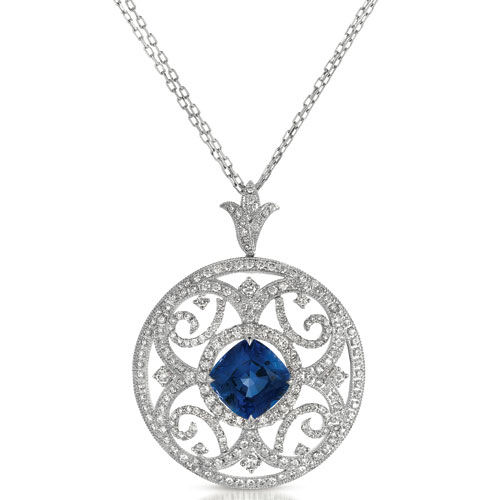 Blue Sapphire and Pave Diamond Filigree Pendant - Vanna K