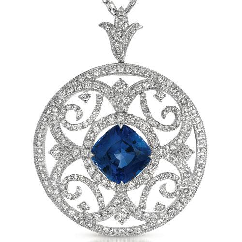 Blue Sapphire and Pave Diamond Filigree Pendant - Vanna K - Laying View