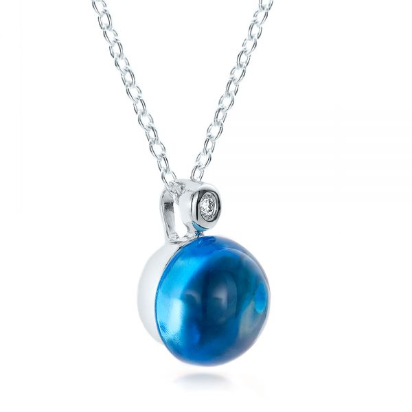 Blue Topaz Cabochon And Diamond Pendant - Flat View -