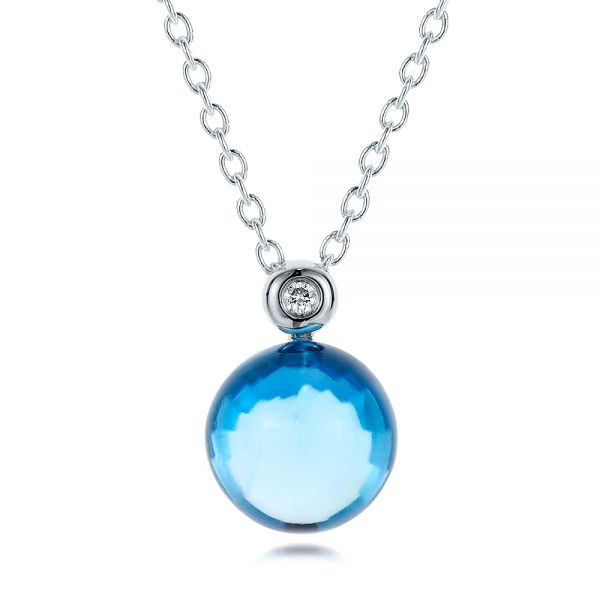 Blue Topaz Cabochon and Diamond Pendant
