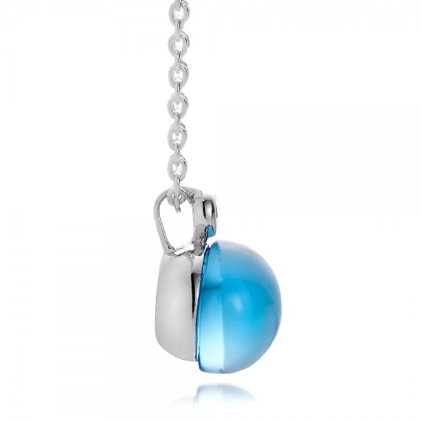 Blue Topaz Cabochon and Diamond Pendant - Side View