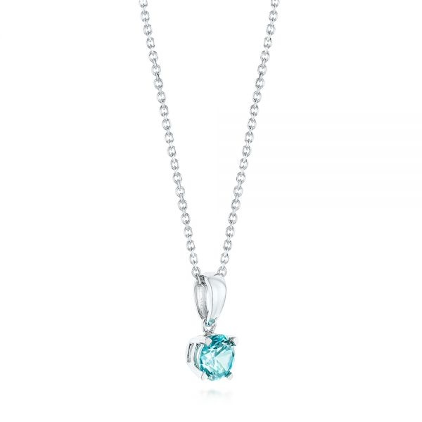 14k White Gold Blue Topaz Pendant - Front View -  103708