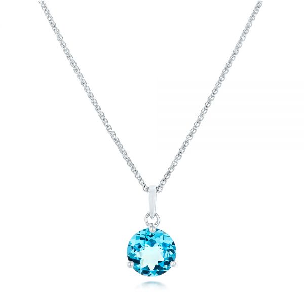 Blue Topaz Pendant - Three-Quarter View -  102613